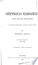 A szépprózai elbeszélés: 1774-1788