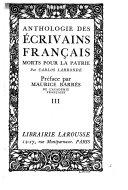 Anthologie Des Écrivains Français Morts Pour la Patrie