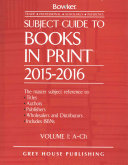 Subject Guide to Books in Print 6 Volume Set  2015 16  6 Volume Set