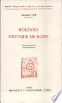 Bolzano critique de Kant