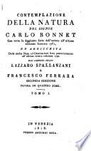 Contemplazione della natura     arricchita delle molte note     dai     Lazzaro Spallanzani e Francesco Ferrara