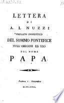 Lettera sull'origine ed uso del nome Papa