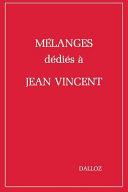 illustration Mélanges dédiés à Jean Vincent