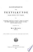 Handw  rterbuch der textilkunde aller zeiten und v  lker
