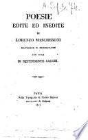 Poesie edite ed inedite di Lorenzo Mascheroni raccolte e pubblicate per cura di Defendente Sacchi