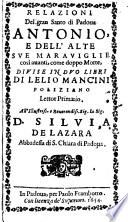 Relazioni Del Gran Santo Di Padova Antonio  E Dell Alte Sve Maraviglie cosi auanti  come doppo Morte