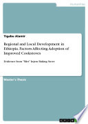 Regional And Local Development In Ethiopia Factors Affecting Adoption Of Improved Cookstoves