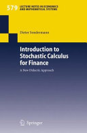Introduction to Stochastic Calculus for Finance