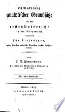 Entwickelung analytischer Grundsätze für den ersten Unterricht in der Mathematik