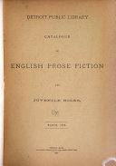Catalogue of English Prose Fiction and Juvenile Books  March  1886