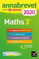 Annales du brevet Annabrevet 2020 Maths 3e