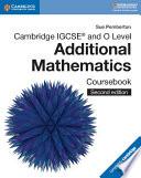 Cambridge Igcse And O Level Additional Mathematics Coursebook book