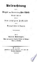 Beleuchtung der Gregor von Berzeviczy'schen Schrift: Nachrichten über den jetzigen Zustand der Evangelischen in Ungarn
