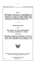 Referral from Independent Counsel Kenneth W  Starr in Conformity with the Requirements of Title 28  United States Code  Section 595 c  Book PDF