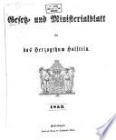 Gesetz- und Ministerialblatt für die Herzogthümer Holstein und Lauenburg