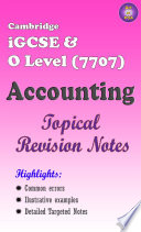 Cambridge Igcse O Level 7707 Accounting Topical Revision Guide