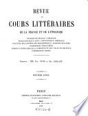 Revue des cours litteraires de la France et de l etranger   sous la direction de Eug  Yung et Em  Alglave