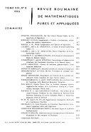 Revue Roumaine de Math  matiques Pures Et Appliqu  es