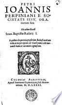 PETRI IOANNIS PERPINIANI E SOCIETATE IESV, ORAtiones Sex