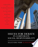Issues for Debate in Corporate Social Responsibility