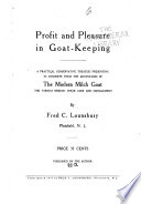 Profit and Pleasure in Goat keeping