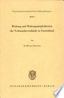 Wirkung und Wirkungsmoglichkeiten Der Verbaucherverbande in Deutschland