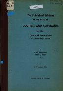 The Published Editions of the Book of Doctrine and Covenants of the Church of Jesus Christ of Latter Day Saints