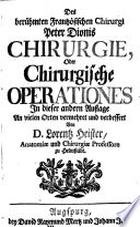 Peter Dionis Chirurgie oder chirurgische Operationes