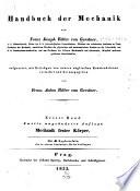 Handbuch der mechanik  bd  Mechanik fester k  rper  2  unge  nderte aufl  1833