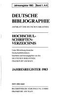 Deutsche Bibliographie  Hochschulschriften Verzeichnis