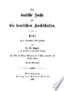 Die deutsche Sache und die deutschen Hochschulen