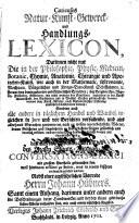 Curieuses Natur Kunst Gewerk und Handlungs Lexicon