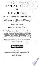 Catalogue de livres  de la faillite des demoiselles Marie et Colette Meyer