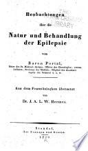Beobachtungen über die Natur und Behandlung der Epilepsie
