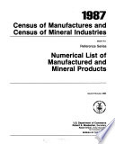 Census of Manufactures and Census of Mineral Industries