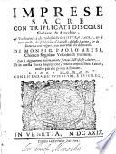 Imprese Sacre Con Triplicati Discorsi Illustrate   Arricchite