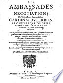Les ambassades et négotiations ... du Card. DuPerron