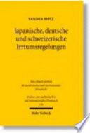 Japanische, deutsche und schweizerische Irrtumsregelungen
