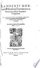 Lamberti Hortensij Montfortij Enarrationes in sex priores libros Aeneidos Vergilianae