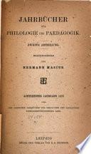 Neue Jahrbücher für Philologie und Paedogogik