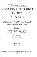 Cumulated Magazine Subject Index  1907 1949  A Jewe