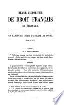 illustration du livre Revue historique de droit français et étranger