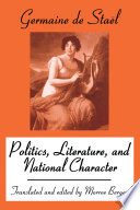 Politics, Literature And National Character : to an age