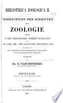 Bibliotheca zoologica II