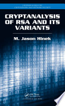 Ebook Cryptanalysis of RSA and Its Variants Epub M. Jason Hinek Apps Read Mobile