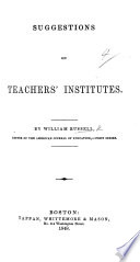 Suggestions on Teachers Institutes