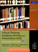 Critical Thinking  Academic Writing And Presentation Skills   Mg University Edition