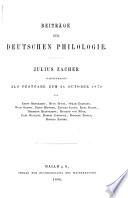 Beiträge zur deutschen philologie
