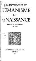 Biblioth  que d humanisme et renaissance