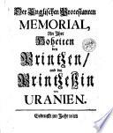 Der Englischen Protestanten Memorial  an ihre Hoheiten den Printzen  und die Printzessin von Uranien